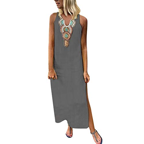 Sunyastor Women's Bohemian Dress Floral Print Cotton Linen Maxi Dress Deep V Neck Sleeveless Hem Baggy Kaftan Long Dress Gray