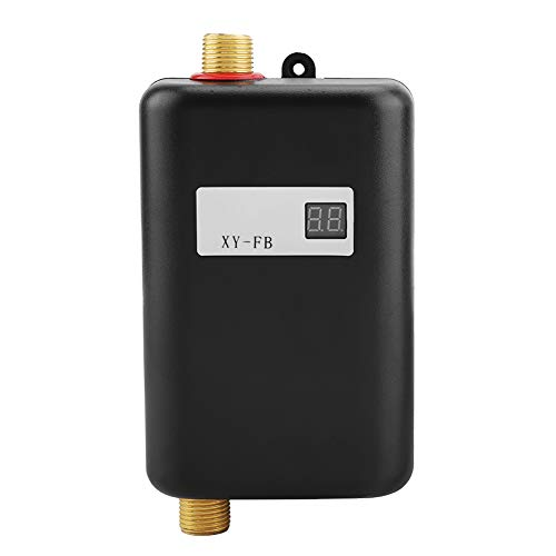 3000W Mini Electric Tankless Instant Hot Water Heater with LCD Display for Home Bathroom Kitchen Washing US Plug 110V (Black)