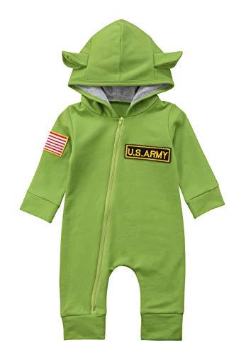 Warm Rabbit - Toddler Baby Boy Girl Rabbit 3D Ear Hoodie Romper Winter Autumn Warm Jumpsuit Outfits Bodysuit Clothes (Green, 110(1.5T-2T))