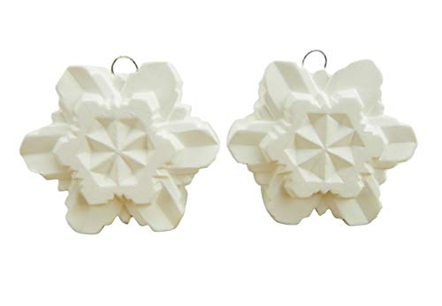 Snowflake Ornaments (Faceted) Set of 2 - Ready to Paint Ceramic Bisque - Hand Poured in The USA