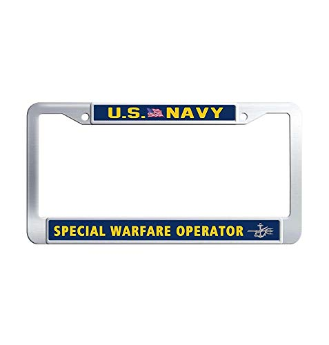 Nuoousol U.S. Navy Special Warfare Operator License Plate Frame, Cool Stainless Steel Waterproof Metal License Cover Holder with Bolts Washer Caps for US Standard
