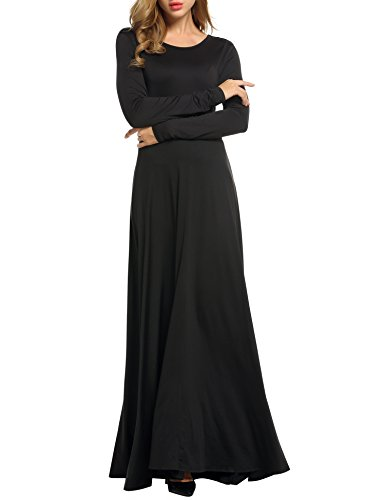 ACEVOG Womens Long Sleeve Backless Swing Evening Party Maxi Dress with Belt