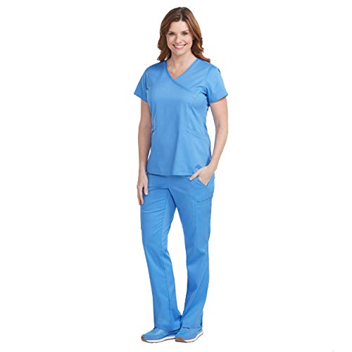 Med Couture New Touch Women's Mock Wrap Scrub Top & Yoga 2 Cargo Pocket Pant Set ()