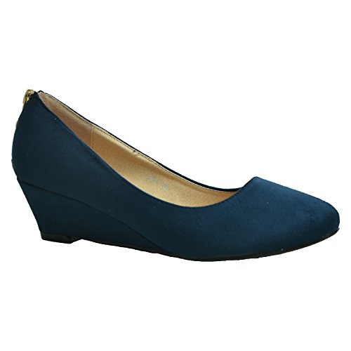 Cucu Fashion Brand New Womens Court Pumps Ladies Girls Back Zip Wedge Mid Heels Slip On Faux Suede Casual Shoes Size UK 3-8 Dark Blue XlGZCR