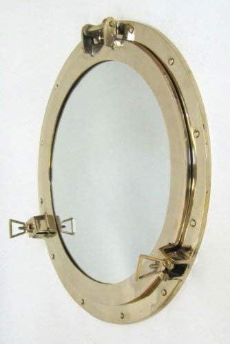 """20/"""" Big Nautical Porthole Brass Finish Marine Ship Mirror Porthole Wall Decor"""
