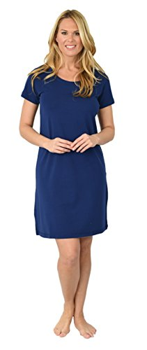 Shadowline Women's Before Bed Collection Sleepshirt - Short Sleeve Nighty (Medium, Navy)
