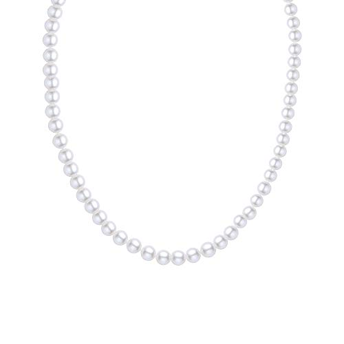 JORA Classic Single Strand 7.5-8mm White Freshwater Cultured Pearl Necklace, Princess Length 18