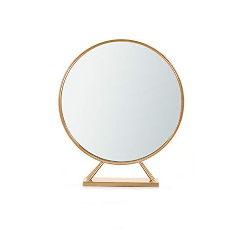 Mirror Nordic Makeup Mirror Wrought Iron Gold Round Decorative Mirror Desktop Princess Mirror Studio Desktop Vanity Mirror Wall Hanging Mirror Makeup Mirror (Color : A)