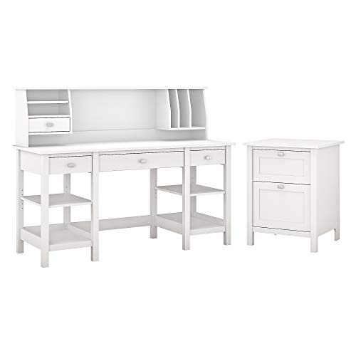 Bush Furniture Broadview 60W Desk with Storage Shelves, Small Hutch Organizer and File Cabinet in White (Contemporary Hutch Organizer)