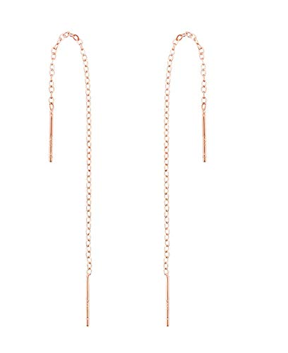A Pair 925 Sterling Silver Tassel Threader Drop Earrings Long Chain Ear Line(Rose Gold)