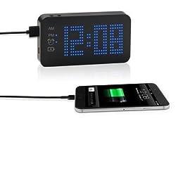 Westclox Blue Dot Matrix Display Alarm Clock with Portable Power Bank SXE87004
