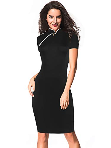 (oxiuly Women's Vintage 1950's Stretch Stand Collar Casual Work Pencil Sheath Midi Dress OX183 (XL, Black Solid))