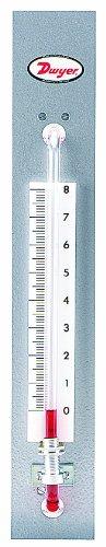 Dwyer Flex-Tube Series 1235 Well-Type Panel Mount Manometer, Range 0-8'WC using Red Gauge Fluid