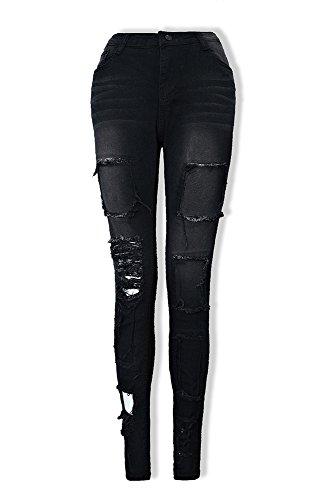 Pour Moyenne Mode Pantalon Femmes Déchiré Noir Jeans Crayon Les Huateng Taille Dames Design Denim Pantalons De Trou Casual qcpw04aWyt