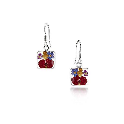 Bijoux en argent avec fleurs véritables - boucles d'oreilles pendantes - fleurs mixtes - forme rectangulaire - boîte cadeau
