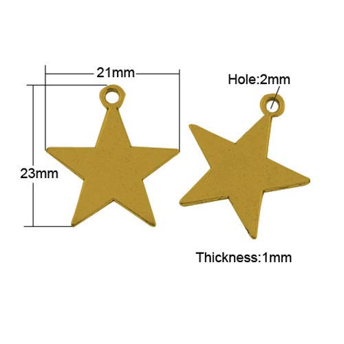 Pendant Jewelry Making 10 Star Charms 5 Point Pendants Antiqued Gold Metal Stamping Blanks Flat