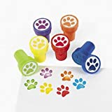 6 Mini Paw Print Stampers - Assorted Colors - Self Inking