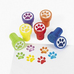 6 Mini Paw Print Stampers - Assorted Colors - Self Inking -