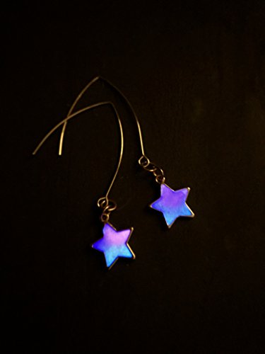 Silver-tone Glow In The Dark Galaxy Nebula Glitter Star Drop Dangle Earrings