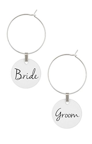 TJ Formal Wine Charms Wedding Gift for Bride and Groom Shower Favors Rings Hoops Tags