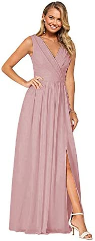 Double V-Neck Bridesmaid Dresses with Split A Line Ruched Chiffon Long Formal Prom Gowns Burgundy US6  dL1cb