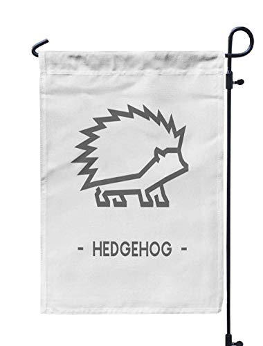GROOTEY Welcome Outdoor Garden Flag Home Yard Decorative 12X18 Inches Line Figure Hedgehog Outline Web Double Sided Seasonal Garden Flags (Outline Hedgehog)