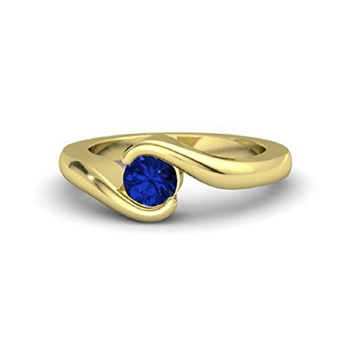 Beautiful LOVE Promise 14K Rose Gold Plated 1/2 ct Created Blue Sapphire Engagement Wedding Solitaire Ring For Womens