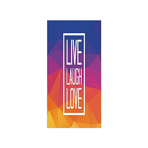 (3D Decorative Film Privacy Window Film No Glue,Live Laugh Love Decor,Famous Slogan Framework Triangulated Low Poly Effects Colorful Print Decorative,Multicolor,for Home&Office)