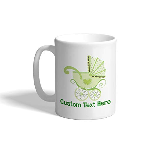 Custom Funny Coffee Mug Coffee Cup Baby Buggy Green White Ceramic Tea Cup 11 OZ Personalized Text - Ceramic Buggy Baby