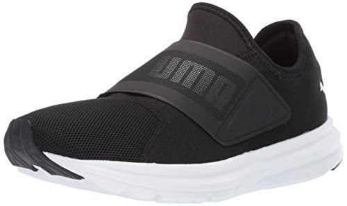 PUMA Men's Enzo Strap Sneaker, Puma Black-Puma White, 10.5 M US