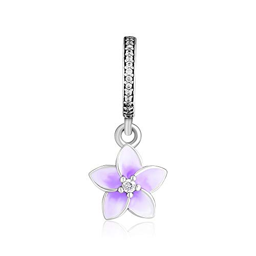 (CKK DIY Fits For Pandora Beads Bracelets 100% 925 Sterling Silver Jewelry Purple Petal Pendant Charms 1.7g.)
