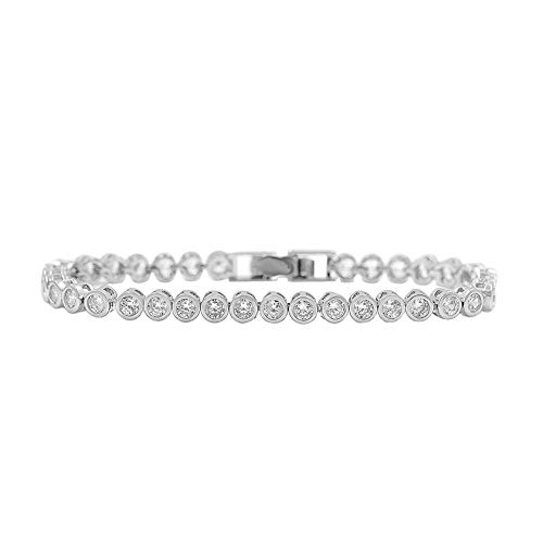 Sparkling 36 Pcs Round Cut Cubic Zirconia Crystal Tennis Cz Bracelets for Women Or Wedding in 3 Assorted Colors,White Gold Color ()