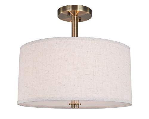 (Woodbridge Lighting 13435BRB-S11500 Close to Ceiling Light Fixtures White)