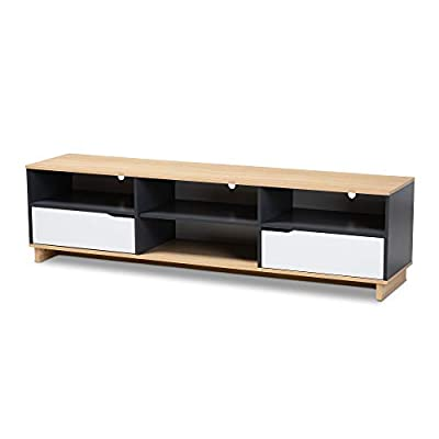 Baxton Studio TV Stands, One Size, White/Oak/Grey - Constructed from engineered wood White, Oak, and Grey finish Two (2) drawers - tv-stands, living-room-furniture, living-room - 31p6CKufOkL. SS400  -
