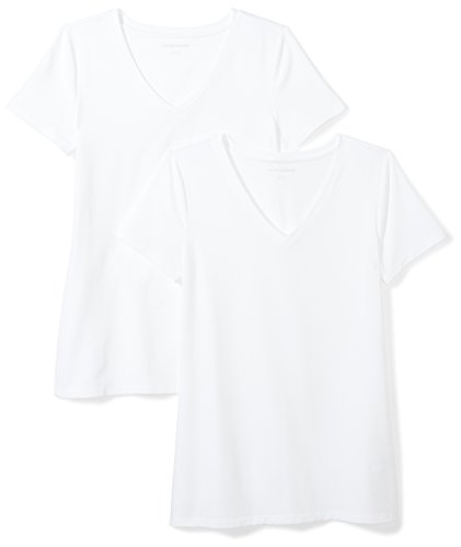 (Amazon Essentials Women's 2-Pack Short-Sleeve V-Neck Solid T-Shirt, White, Large)