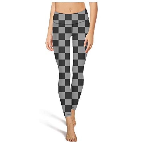 PLOKINC Cute Yoga Pants for Womens Workout Leggings Checkered Black Grey Squares Sport Workout Running Legging Workout Tights