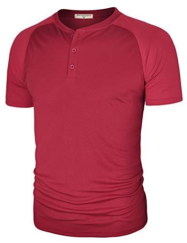 Derminpro Men's Quick Dry Casual Basic Front Placket Henley T-Shirts Wine - Sport Henley
