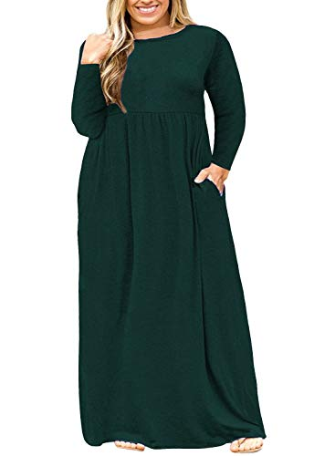 (Nemidor Women Long Sleeve Loose Plain Casual Plus Size Long Maxi Dress with Pockets (Green+Sleeve, 26W))
