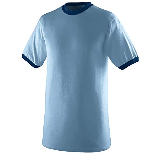(Augusta Sportswear Men's Ringer tee Shirt, Light Blue/Navy, Large)