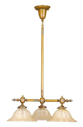 Livex Lighting 8133-93 Chandelier with Amber Glass Shades, Vintage Brass