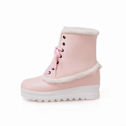 Charme Voet Womens Warm Verborgen Hak Platform Wedge Lace Up Winter Snowboots Roze