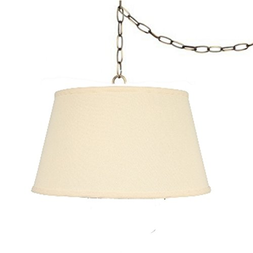 Upgradelights Beige Linen 19 Inch Swag Lamp Pendant with Antiqued Brass Chain - Restoration Plug