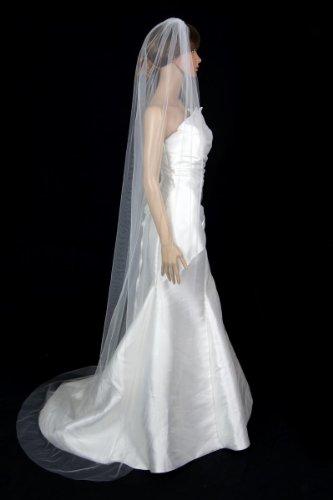 Bridal Wedding Classic Veil Ivory 1 Tier Long Chapel Length Standard Cut Edge by Velvet Bridal (Image #2)