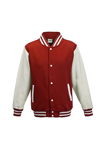 AWDis Hoods Big Boys' Varsity Letterman Jacket Fire Red / White 12 to 13 Years
