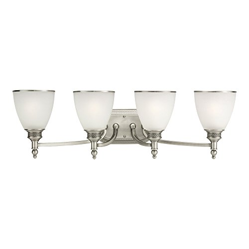 Bath Ripple Light 1 (Sea Gull Lighting 44352-965 Laurel Leaf Four-Light Bath or Wall Light Fixture with Etched Ripple Glass Shades, Antique Brushed Nickel Finish)