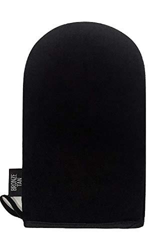 Bronze Tan Velvet Selbstbräuner-Handschuh für eine gleichmäßige, streifenfreie Selbstbräunung Schützt die Hände vor Flecken beim Auftragen der Bräunungslotion - waschbar und wiederverwendbar - schwarz