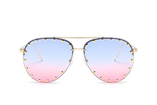 Oath_song Rivet Studded Rimless Metal Frame Aviator Sunglasses (blue pink)