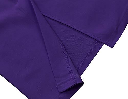Work Audrey Women's Formal Dress Half Hepburn Purple Sleeve Belt 1960s MUXXN xA8pdq5A