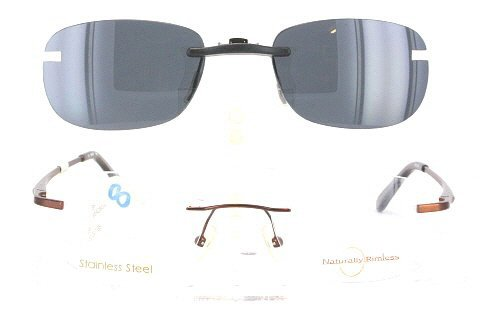 Amazon.com: NATURALLY RIMLESS NR407-52X20 POLARIZED CLIP-ON ...