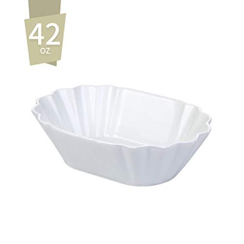 Singkasa/42-oz Porcelain Serving Bowls for Salad/Pasta/Soup/Dessert, 9x6.5x2.5 inches, White Classic White Serving Bowl